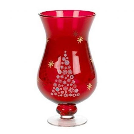 Red Glass Hurricane Tea Light Candle Holder with Christmas Tree